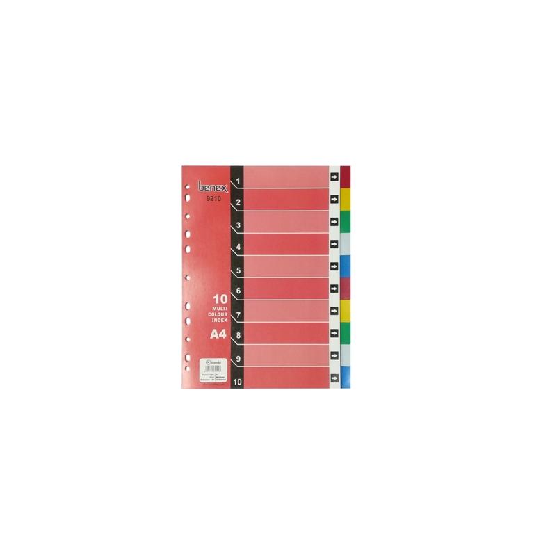 9210 - Benex PP Colour Divider 10 Section A4