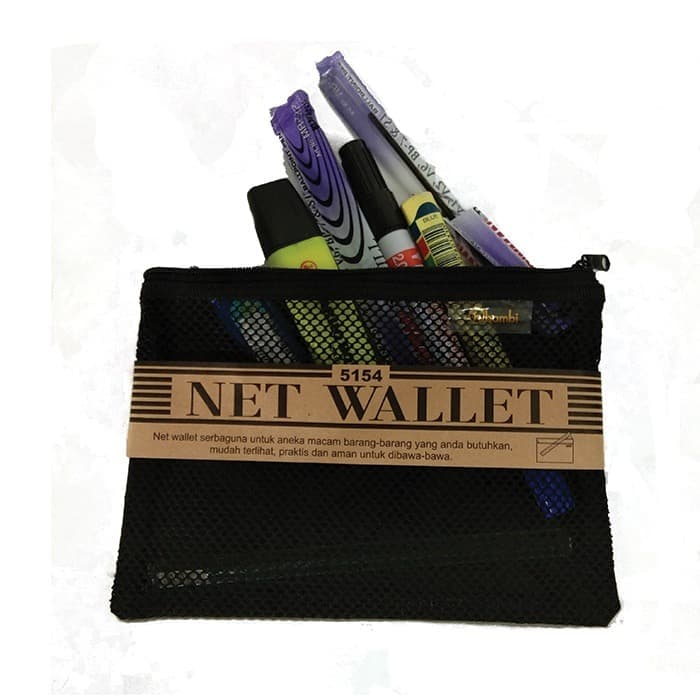 Net Wallet With Two Zippers 15 X 26 cm - 5154